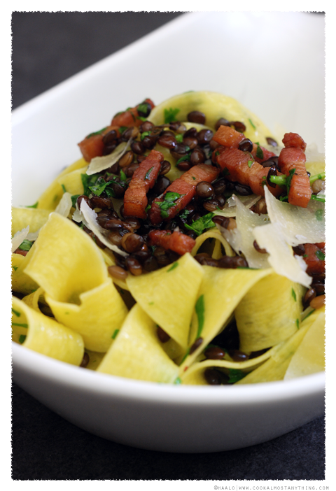 pappardelle with pancetta and lentils© by Haalo