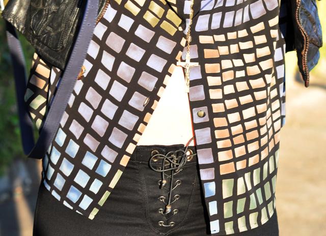 lace up jeans, J Brand jeans, Duarte jeans, black jeans, rosary bead necklace, vintage leather, DSC_0157