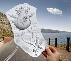 Pencil Vs Camera - 48 (Ben Heine) Tags: road street camera light summer cloud mountain fish kite bird art strange face childhood mouth lens landscape photography freedom weird sketch vanishingpoint seaside kid eyes funny holidays child hand outdoor drawing main joy wing creative dream happiness run santorini greece odd creation layer reality imagination hallucination imaging behind dizzy t nuage creature littleboy poisson sourire mythology bizarre oiseau hold visage imagery aile waterscape derrire deliriumtremens cerfvolant drle objectif enfance teethe couche appareilphoto benheine samsungnx10 pencilvscamera