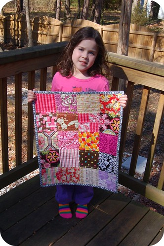Bevin & her mini quilt