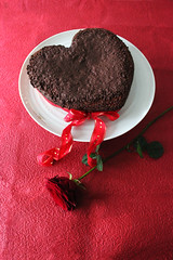 Valentine Cake (crayonmonkey) Tags: red rose cake baking heart chocolate valentine romance romantic mould clementine shape