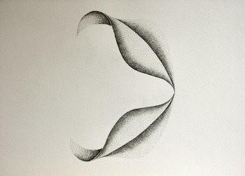 Dessin à l'encre, au point, sur papier aquarelle représentant une architecture végétale inspirée d'un pétale de dimension 30x40cm. Dans ce duo, les deux formes sont  en contact au niveau des pointes – Sandrine Vallée