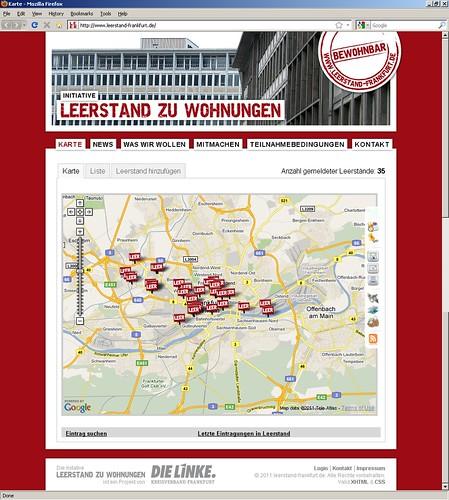 Webseite Leerstand zu Wohnungen von der Partei Die Linke. Screenshot.