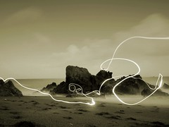 light painting (Tom McCabe.) Tags: ocean longexposure light sea beach painting coast rocks cornwall waves seascapes