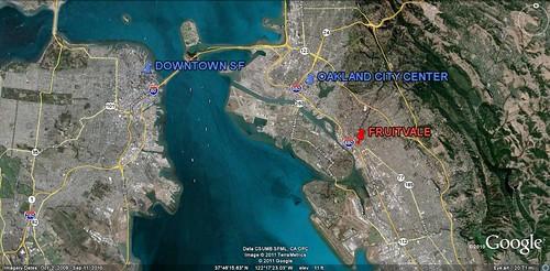 Fruitvale, downtown Oakland and San Francisco (via Google Earth)