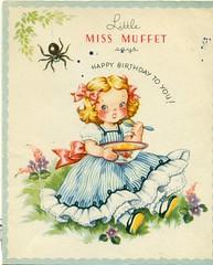 Little Miss Muffet says Happy Birthday to You (reinap) Tags: vintagebirthdaycard 50sbirthdaycard littlemissmufffet