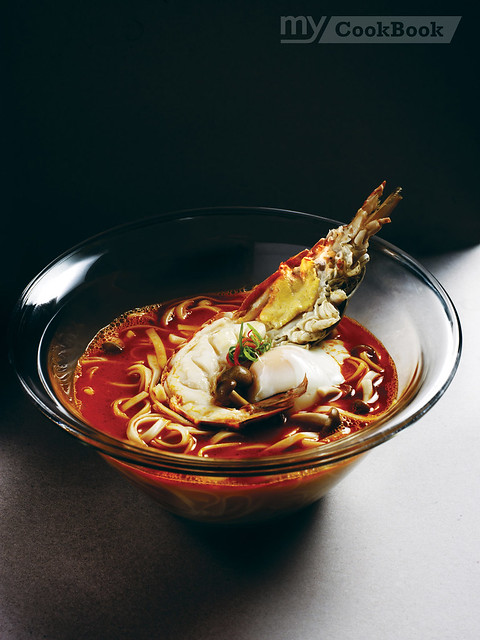 MY King Prawn Noodles in Prawn Bisque served with 45-minute Poached Egg
