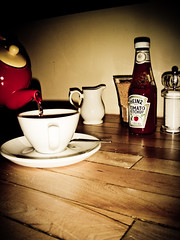 Pouring (KJGarbutt) Tags: light shadow food english cup glass coffee breakfast photoshop lunch photography pig bacon ketchup tea photoshopped sony knife plate fork cybershot spoon adobe shade mug eggs brunch condiments muffin latte kurtis cutlery englishmuffin sonycybershot eggsbenedict picassa hollandaise poached benedict garbutt hollandaisesauce lightrom kjgarbutt kurtisgarbutt kurtisjgarbutt kjgarbuttphotography