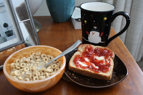 cheerios, toast, coffee