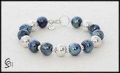 Vintage Blues Bracelet - Sterling Silver & Lampwork Glass Beads by Clare Scott SRA (Photography by Clare Scott) Tags: uk glass silver scott beads clare jewellery sterling lampwork sra