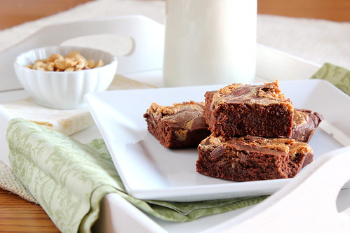 peanut butter swirled brownies