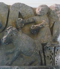 Camarasa Historiated Capitals detail with angel and ram, right side