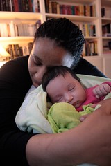 Leïla and Lilly-Rose. Lilly-Rose is 3 weeks old in this photo.