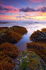 Tanah Lot Surf Zone At Low Tide (tropicaLiving - Jessy Eykendorp) Tags: longexposure light sunset sea sky bali seascape seaweed beach nature water clouds canon indonesia landscape rocks tide low shoreline lee filters westcoast tanahlot efs1022mmf3545usm outdoorphotography canoneos50d surfingspot