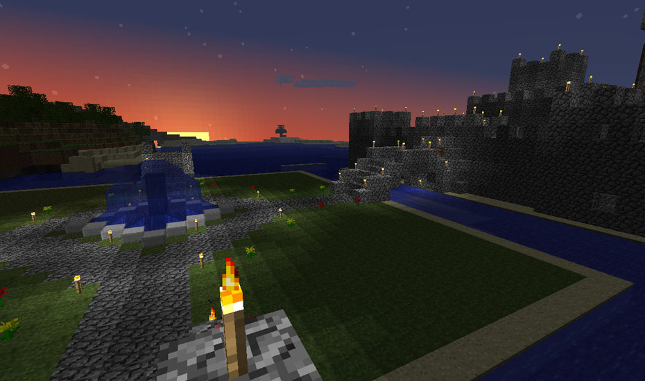Minecraft - Park area at sunset