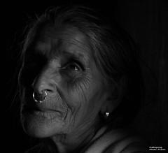 Aging - Darjeeling, India (whl.travel) Tags: blackandwhite wrinkles aging old woman nosering greyhair bombusty kalimpong darjeeling westbengal india