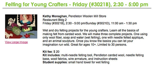Felting for Young Crafters at Sew Expo 2011