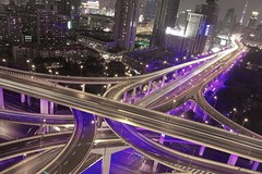 shanghai lights (alexander reneby lithman) Tags: china road longexposure light urban skyline night lights highway neon skyscrapers purple shanghai traffic  elevated  peoplessquare