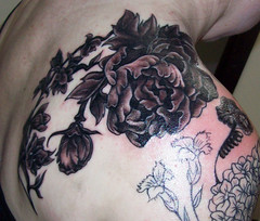 jen 3 (Artwork by Sarah B.) Tags: tattoo peony delphinium femine flowertattoo blackandgreytattoo