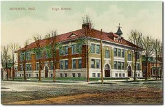 High School, Goshen, Indiana (Hoosier Recollections) Tags: houses usa color history buildings mail indiana streetscene porch schools residential postmark goshen elkhartcounty hoosierrecollections