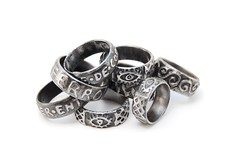 etched iron rings with customised words and ornaments! (Blind Spot Jewellery) Tags: wedding iron blind contemporary band jewelry spot ring jewellery jewel blindspot blindspotjewellery