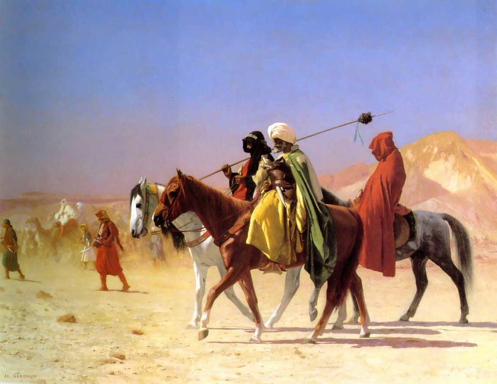 Jean-Léon Gérôme - Araber durchqueren die Wüste (1870) - Öl auf Leinwand (41,2 x 56 c)