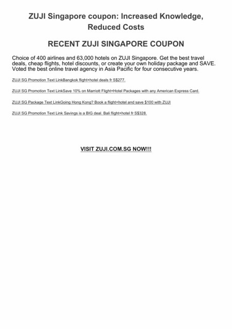 ZUJI SINGAPORE coupon