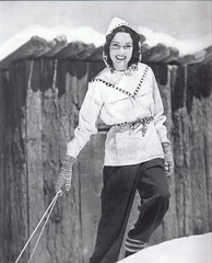 Maureen O'Sullivan in a chic skiing outfit (Silverbluestar) Tags: maureenosullivan brunette european irish movies film vintage actress stars celebrities beauty beautiful pretty girls women ladies women's classic hollywood fashion bw 1930s 1938