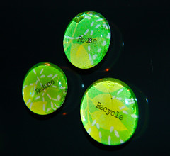 Going Green Glass Marble Magnets