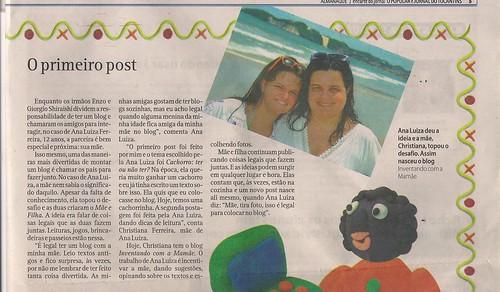 Ver para crescer e blogs de crianças em suplemento do jornal O Popular (de Goiás)