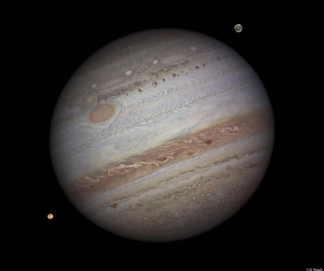 Jupiter, with Ganymede & Io - September 2010.
