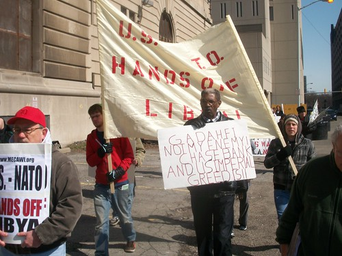 Detroit activists march through downtown against the ongoing wars in Iraq, Afghanistan, Pakistan and now Libya. Solidarity with Palestine was also a theme. (Photo: Abayomi Azikiwe) by Pan-African News Wire File Photos