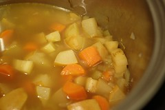 Parsnip, Carrot and Asian Pear Soup simmer