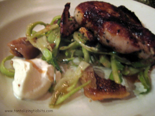 wood oven roasted quail with puntarelle, poached figs, vi ranci and cumin yogurt