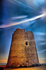 Sa Torre i els raigs de lluna (ibzsierra) Tags: blue light sky moon tower luz azul canon torre luna ibiza cielo 7d eivissa hdr defence baleares defensa digitalcameraclub