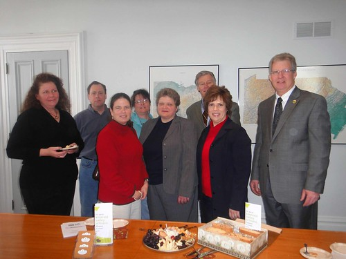 Deputy Under Secretary Cheryl Cook meets with recipients of loans made possible through USDA Rural Development's Business and Industry program. L to R (Kara Kurz, Chef Dato's Table, PJ Nied, Ligonier Country Inn, Sandra Younkin, Confluence Bed and Breakfast, John Dawes, Huntingdon Farm, (Front) Maggie Nied, Ligonier Country Inn, Agriculture Deputy Under Secretary Cheryl Cook, Alisa Fava-Fasnacht, Emerald Valley Artisans, and Thomas P. Williams, Pennsylvania Rural Development State Director