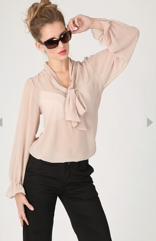 aria sheer pussybow blouse in nude 18.99