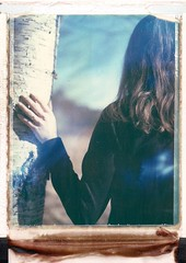 spring feelings (Bastiank80) Tags: blue sky tree nature girl polaroid spring sunny 180 expired feelings landcamera 669 polanoid