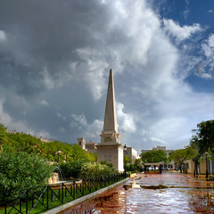 Obelisk of Ciutadella in spotlight after heavy weather fronts (Bn) Tags: city pink water rain architecture port g