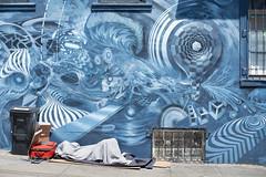 DSC_3184 (Axisworks) Tags: lowerhaight sanfrancisco mural streetart homeless wildfeather art mars1 davidchoonglee oliververnon damonsoule blue 50mm nomeedonna collaboration