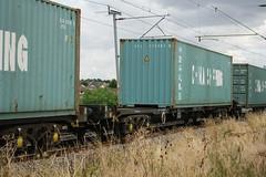 93353 Kingsthorpe 080816 (Dan86401) Tags: 93353 tiph93353 93 kfa freightliner fl intermodal modal container flat wagon freight tiph touax rautaruuki wilsonscrossing kingsthorpe northampton wcml 4m28 chinashipping