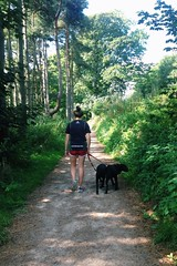 (bethanyhirst1) Tags: explore yorkshire outdoor path girl walk lega labrador lab blackla dogs walking dogwalking dog