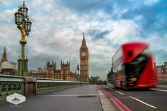 Morning Bus in London (jkuphotos) Tags: bigben bridge bus clock england jamesudall lamp london parliament road street uk unitedkingdom westminster