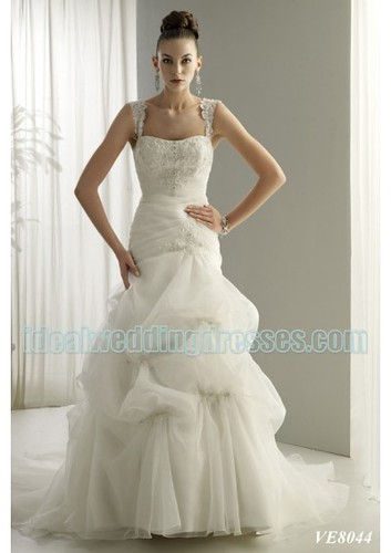 corset wedding dresses with straps. Basic Description: This brand new custom made fashion organza 2011 wedding dress features its dropped neckline with shoulder straps in mermaid asymmetrical