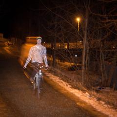 159. Feel Good Inc. (Lonyl) Tags: longexposure portrait selfportrait bike night self canon 365 speedlight project365 365days 40d 430exii flashcurtain lonyl jrnolavlkken