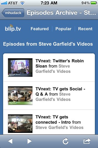 TVnext Recorded Sessions on my iPhone