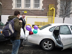 Our Mardi Gras balloons rode with us all day (fleepy_99) Tags: charity nyc brooklyn race henry greenpoint idiotarod fooddrive mcgovern 2011 greenpointreformedchurch charitydivision corporationx