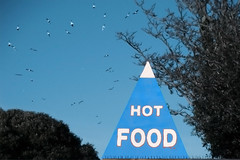Hot Food (Dom Walton) Tags: blue sky food lake hot birds triangle pyramid gulls canoe southsea domwalton