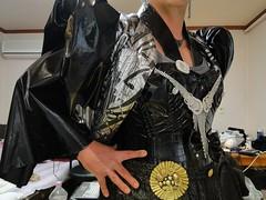 fetish7 (cyborg2012) Tags: man fashion fetish shiny pants modeling metallic vinyl puff jewelry crossdressing jacket corset sleeve glamor pvc
