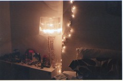 10 (RE) Tags: film night dark lights bedroom pretty sleep room dreams contaxt2 colorfilm fairyllghts